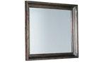 Affordable bedroom mirror in a distressed brown finish.