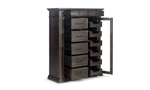 Antique-inspired door chest contains twelve drawers and a glass cabinet door.