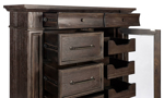 Affordabel bedroom chest full of drawers in a timeless brown finish.