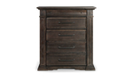 Bedroom chest in a brown finish with five drawers.