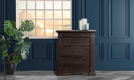 Affordable bedroom chest in a distressed brown finish.