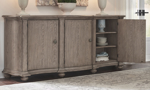 Pulaski storage credenza has 3 cabinets and 6 shelves to fit all of your dining room pieces stored safely away.