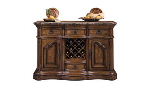Pulaski sideboard features a marble top and  a built in bottle rack.