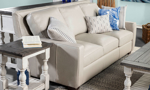 Rocky Mountain Leather couch made in the USA in an off-white bone tone.