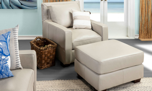 Top-grain leather chair from Rocky Mountain Leather in an off-white bone hue.
