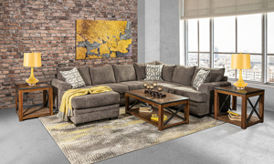 American made sectional with charcoal colored fabric upholstery.
