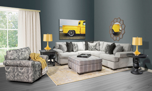 Fabric sectional made in the USA from Main & Co. Seating..