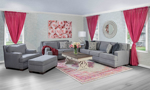 American made living room set from Main & Co. Seating in a neutral gray tone with nail head trim.