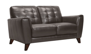Top-grain leather loveseat with button tufting from Violino Furniture in a Pewter hue.