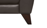 Tapered walnut legs on the Violino Pewter Leather Loveseat.