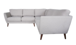 Corner sectional featuring tapered wood legs and flare arms.