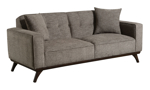 """86"""" wide grey sofa from Behold Home with matching throw pillows."""