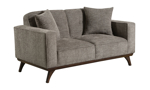 """64"""" wide grey loveseat from Behold Home with matching throw pillows."""