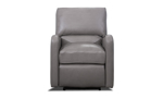 Top-grain leather upholstered power recliner in a neutral grey tone.