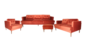 Velvet living room set includes couch, loveseat, armchair and ottoman in a spectacular rust orange hue.