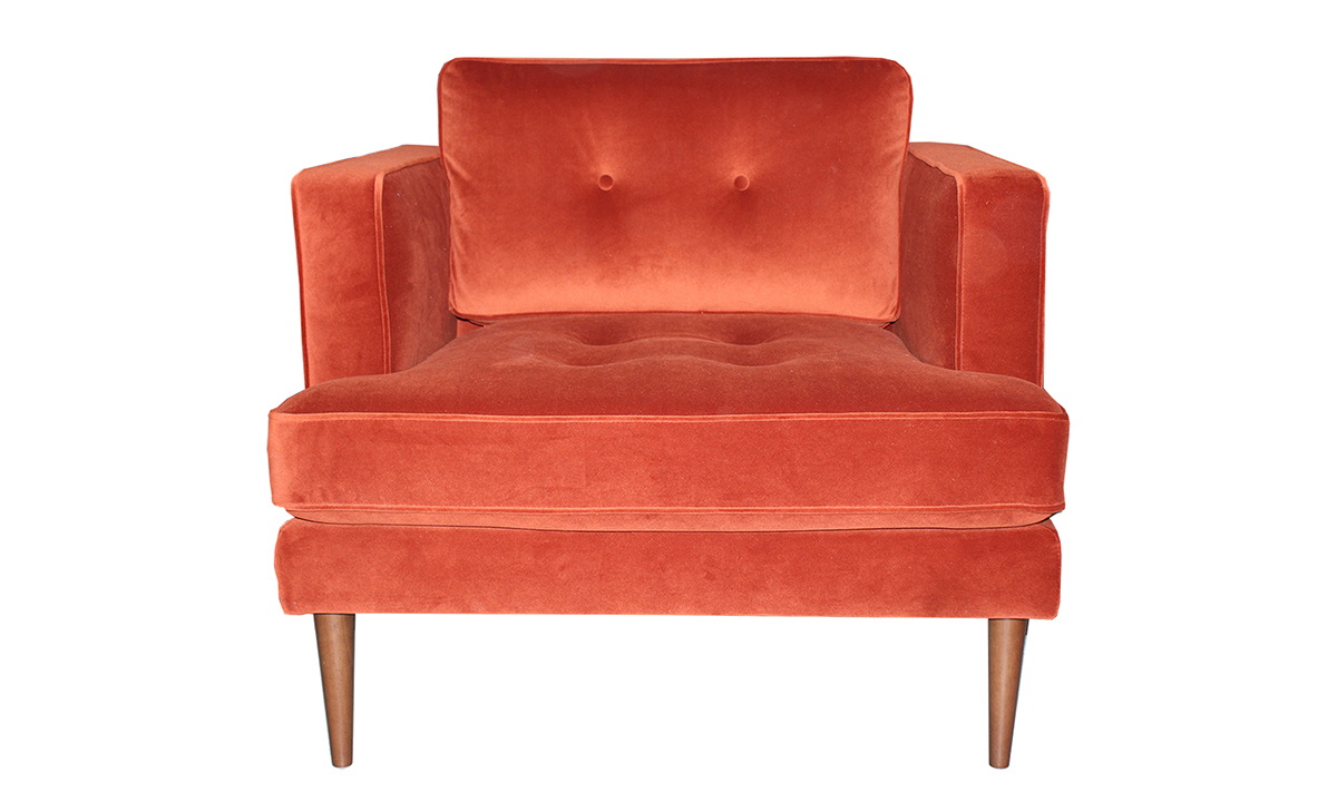 """37"""" wide chair from Carbon in a red orange rust velvet fabric."""