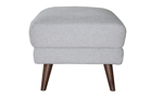 Gray ottoman with tapered wooden legs.
