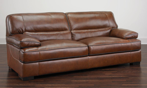 Contemporary 4-piece living room set in chestnut brown top-grain leather with 90-inch sofa, loveseat, chair and ottoman