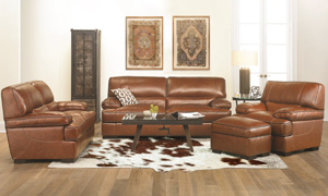 Contemporary 67-inch loveseat with plush arms in brown top-grain leather.