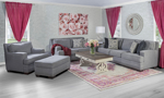 Fabric upholstered living room set includes a sofa, loveseat, armchair and ottoman in soft grey with nail head trim.