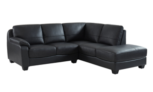 Top grain leather sectional with chaise in a dark charcoal grey hue.