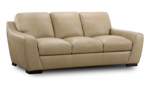 """93"""" wide leather sofa with feather down blend cushions."""