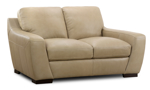 """68"""" wide taupe leather loveseat from Dash & Edison."""