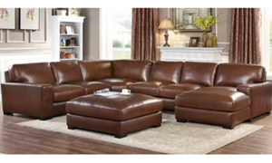 """111"""" wide leather sectional from Niroflex leather in Berkeley Brown."""