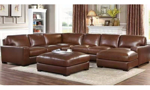 Leather sectional with ottoman from Niroflex leather in Berkeley Brown.