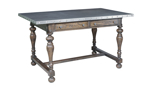 Big Sky dining table with metal top for an industrail feel.