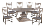Big Sky dining set includes pedestal table and 6 side chairs.