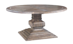 """64"""" round pedestal table with a hand-rubbed wood finish."""