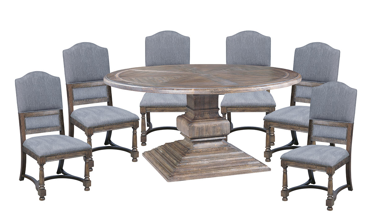 Big Sky dining set collection with grey upholstered chairs.