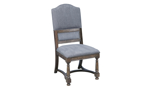Big Sky brown side chair with grey upholstery and nail head trim.