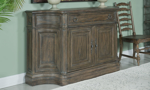 Dining room credenza features 1 storage drawer and 2 cabinets.
