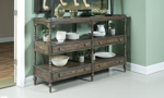 Dining room sideboard features 4 storage drawers and 3 shelves.