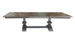Rectangluar pedestal table features an intricate pattern on the table top.