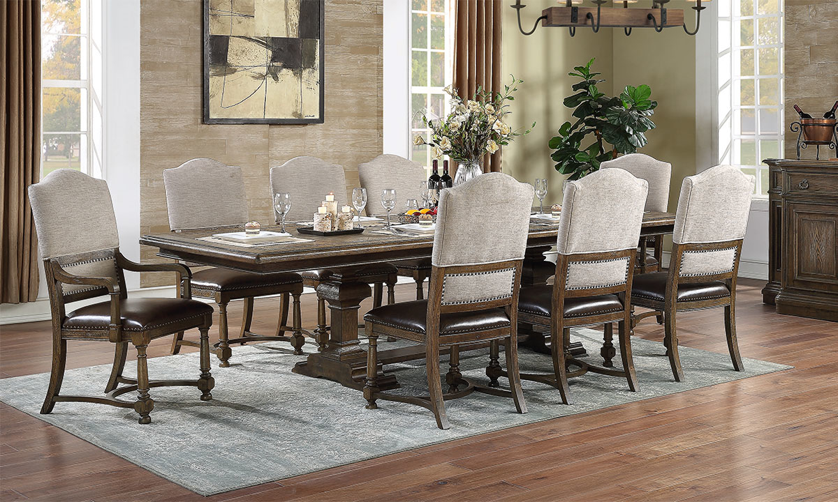 11-Piece Dining Set with Extendable double pedestal table, two arm chairs and three side chairs.