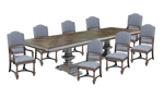 Eleven-piece set includes double pedestal dining table, two arm chairs and eight side chairs with grey fabric upholstery.