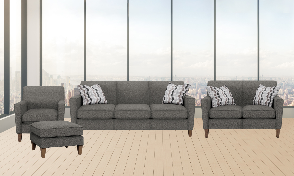 Digby living room set from Flexsteel includes: Sofa, loveseat, chair and ottoman.