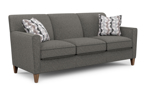 Digby couch in a grey fabric with two throw pillows.