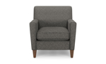 Neutral gay chair with track arms for your living room.