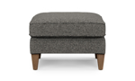"""27"""" wide grey ottoman with wooden legs."""