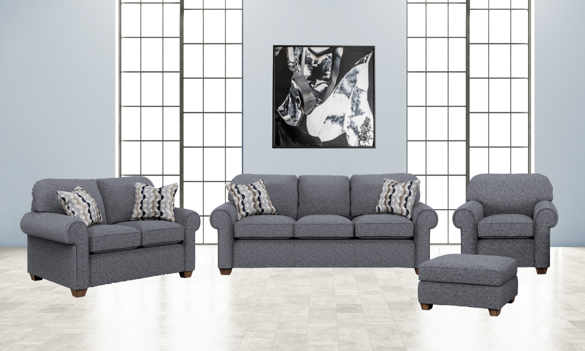 Thornton living room set from Flexsteel includes: Sofa, loveseat, chair and ottoman.