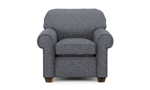 Neutral gay chair with roll arms for your living room.