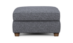 """31"""" wide grey ottoman with wooden legs."""