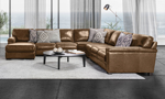 Lifestyle image of the Medici Chestnut leather sectional.