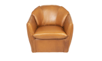 Alternate head-on shot of the American-made taos Butterscotch swivel chair crafted with top grain leather.