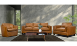 Room scene of the Rocky Mountain Leather Taos Butterscotch top grain leather living room set including the sofa, armchair and matching swivel chair.