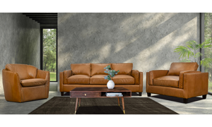 American-made top grain leather swivel chair in a warm butterscotch brown color with cozy, sheltered arms.